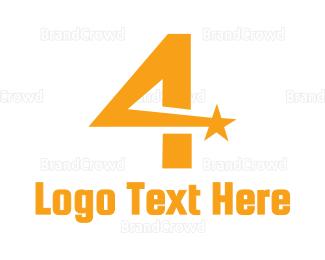 Celebrity - Shooting Star Number 4 logo design