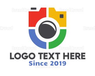 Electronics Boutique - Colorful Camera Badge logo design