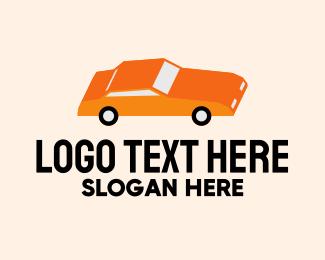 Orange Sedan Car Logo