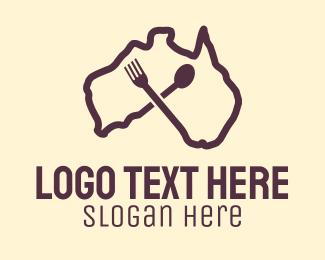 Food Cart - Australian Food Restaurant Cutlery logo design