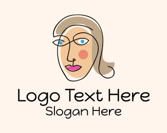 Miss - Female Face Art Monoline  logo design
