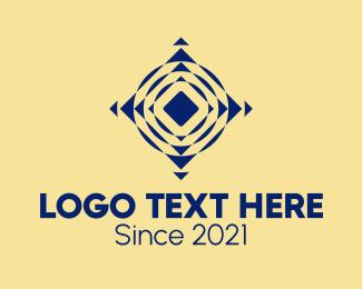 Optical Illusion - Blue Geometric Illusion logo design