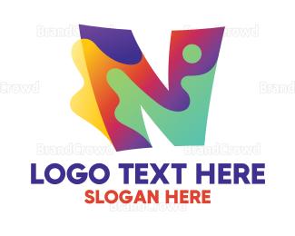 Enamel - Colorful Splash Letter N logo design