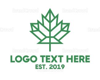 Air Travel - Polygon Canada Leaf logo design