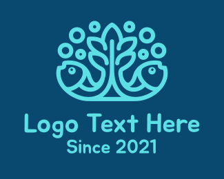 Pacific - Blue Fish Coral Reef logo design