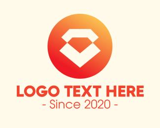 Diamond - Modern Orange Diamond logo design