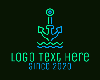 Lounge - Neon Boat Anchor logo design