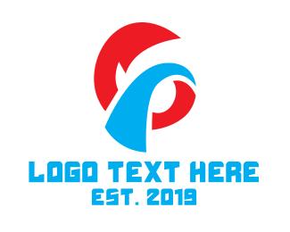 Doodle - Red Blue G Stroke logo design