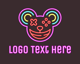 Lights - Neon Gamepad Mouse logo design