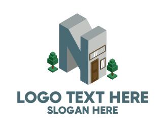 Trees - Modern Building Letter N logo design