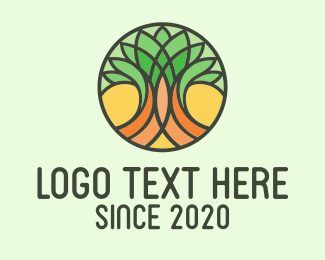 Ecofriendly - Circle Stained Glass Tree logo design
