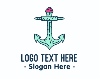 Oceanic - Cupcake Muffin Bakery Anchor logo design