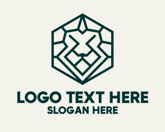 Fauna - Lion Hexagon Monoline logo design
