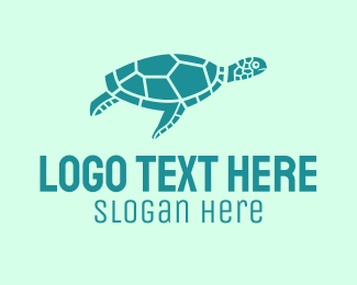 Sea Turtle - Teal Sea Turtle  logo design