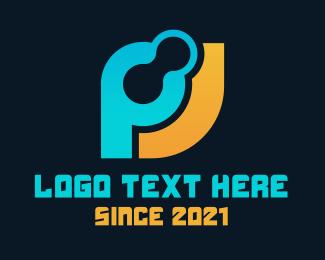 Jp - Technology Letter P & J logo design
