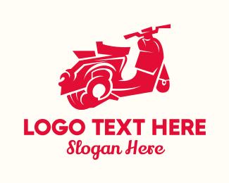 Touring - Red Touring Motorbike logo design