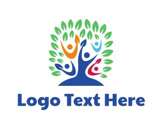 Organization - Colorful People Tree logo design