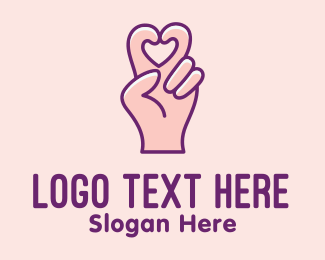 Online Dating - Finger Heart Gesture logo design