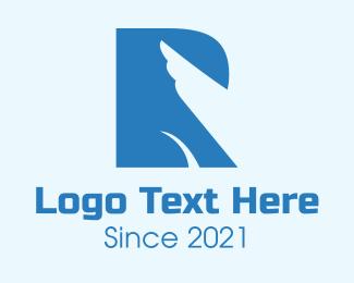 Eagle - Blue Wing Letter R logo design