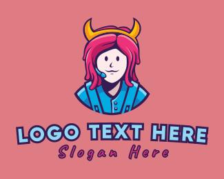 Mascot - Pink Hair Girl Gamer logo design