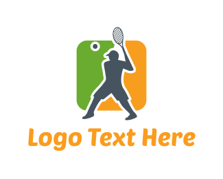 Racquet - Tennis Player logo design