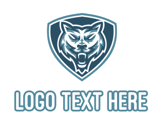 Playoffs - Blue Wolf Shield Mascot logo design
