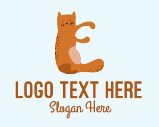 Playful - Playful Cat Letter E logo design