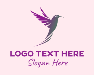 Woodpecker - Elegant Purple Hummingbird  logo design
