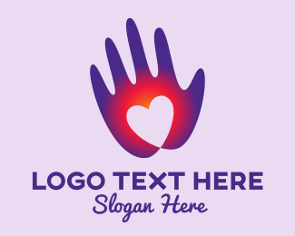 Donation Center - Gradient Heart Hand logo design
