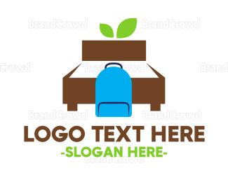 Bed - Backpacker Hostel logo design