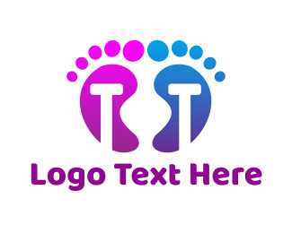 Toe - Violet Blue T Feet logo design