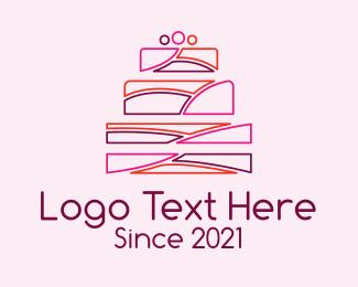 Wedding - Multicolor Wedding Cake logo design