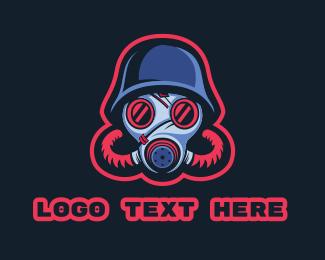 Soldier - Gas Mask Soldier Esports Gaming logo design