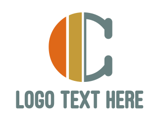 Typewritten - Orange Gold C logo design