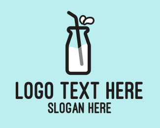 Fresh Milk - Milk Bottle Straw  logo design