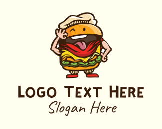 Cartoon - Playful Burger Cartoon logo design