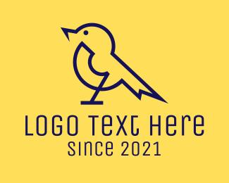 Sparrow - Electrical Sparrow Bird logo design