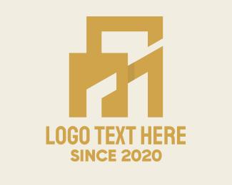 Gold Building - Golden Property Building logo design