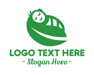 Maternity - Green Baby Leaf Wrap logo design