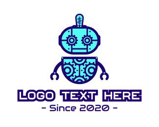 Bot - Blue Tech Robot logo design
