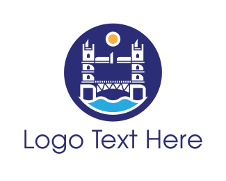 Trip - London Bridge Badge logo design