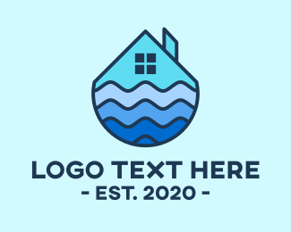 Residence - Blue Seaside House logo design