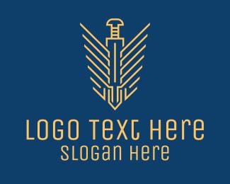 Shield - Dagger Wings Emblem logo design