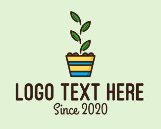 Plant - Colorful Plant Pot logo design
