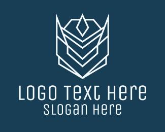Gamepad - White Space Droid Monoline logo design
