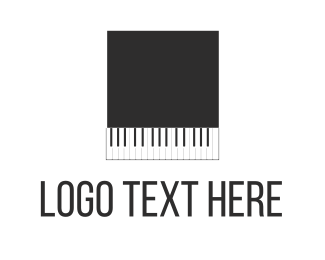 Instrumental - Black Piano Square logo design