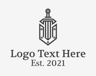 Shield - Classic Letter V Sword logo design
