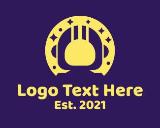 Negative Space - Yellow Space Astronaut logo design
