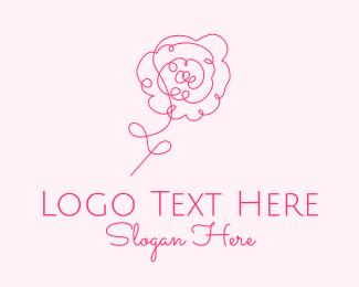 Dahlia - Pink Minimalist Rose Flower  logo design