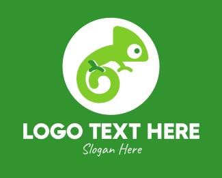 Salamander - Green Spiral Chameleon logo design